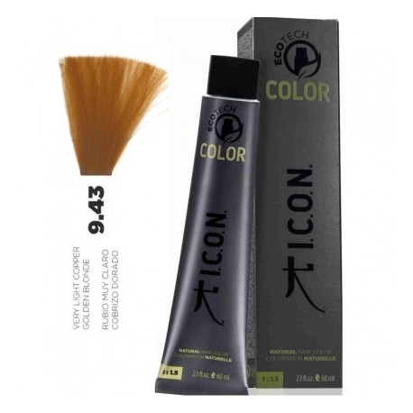 Tinte ICON Ecotech Color Rubio Muy Claro Cobrizo Dorado 9.43