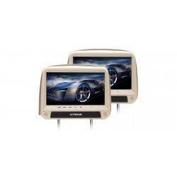 """Pareja de Reposacabezas DVD con Pantalla de 9"""" táctil HD color beige y HDMI"""